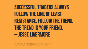 Jesse Livermore Trading Quotes Successful traders always follow the line of least resistance. Follow the trend. The trend is your friend. Jesse Livermore